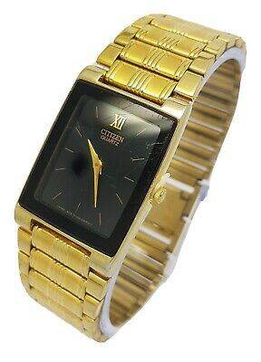 Citizen Quartz Men's Gold Plated Black Dial Wrist Watch *New Battery* A9 • 24.99£