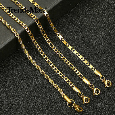 $7.99 • Buy 3mm Gold Plated Stainless Steel Figaro Curb Chain Anklet Bracelet Women 10