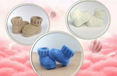 Handmade Crochet Baby Boy Or Girl Booties Early Baby Newborn 8cm Long. FREE P&P • 3.99£