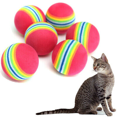 AU10.96 • Buy 6pcs 3.5cm Pet Cat Dog Coloured Soft Foam Rainbow Play Chew Chase Balls Toys