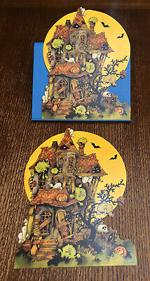 $ CDN25.42 • Buy 2 Vintage Halloween Cut Outs Diecut Ambassador Hallmark Haunted House Decoration