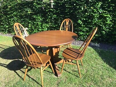 Vintage Ercol Extending Dining Table And 4 Swan Backed Chairs • 325£