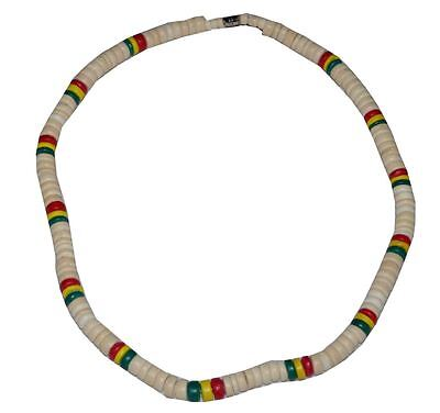 $3.99 • Buy Beach 18  Coco Bead Rasta Necklace Surfer Choker Natural Red Yellow Green