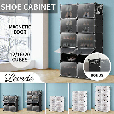 AU45.99 • Buy Cube Cabinet DIY Shoe Storage Cabinet Organiser Rack Shelf Stackable 6/8/10 Tier