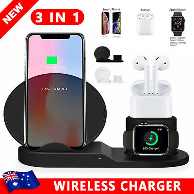 AU35.95 • Buy 3 In 1 Qi Wireless Charger Charging Dock Stand Station For IPhone Apple Watch AU