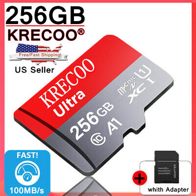 $9.99 • Buy New KRECOO 256GB Micro Memory Card 100MB/S 4K Class10 Flash TF Card With Adapter