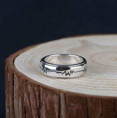 925 Sterling Silver Simple Heartbeat Spinning Ring For Women Men Jewelry A3041 • 14.99£