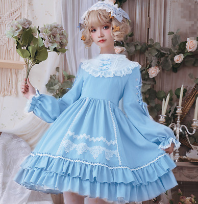 Sweet Girl Lolita Puff Sleeves Falbala Lace Up Bowtie Flared Dress Costume Ting1 • 69.39£