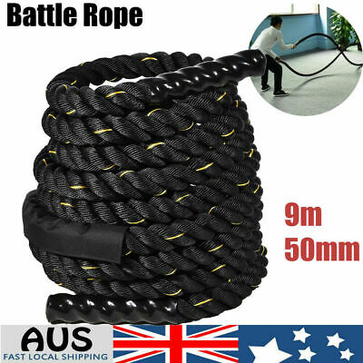 AU94.42 • Buy 50mm 9m Battle Rope Strength Training Power Gym Home Fitness Exercise AU
