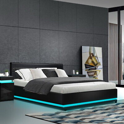 AU348.90 • Buy Artiss RGB LED Bed Frame Queen Size Gas Lift Base Storage Black Leather LUMI