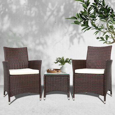 AU198.90 • Buy Gardeon Patio Furniture Outdoor Setting Bistro Set Chair Table 3 Piece Rattan