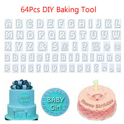 64Piece Alphabet Letter Fondant Mould Biscuits Cake Decorating Icing Cutter Mold • 5.99£