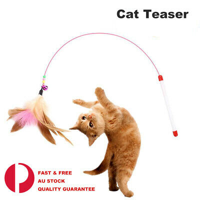 AU6.49 • Buy Cat Play Feather Teaser Wand Toy Interactive Stick Kitten Pet  Fun Wire Catcher