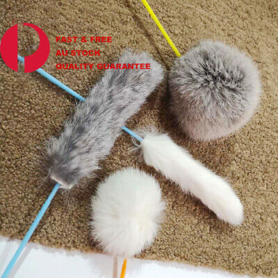 AU5.99 • Buy Cat Play Feather Teaser Wand Toy Interactive Stick Kitten Pet  Fun Wire Hair Fur