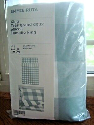 IKEA KING Quilt Cover And 2 Pillowcases Green White Buffalo Checked Tie-closure • 69.87£