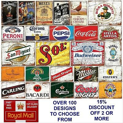 METAL Signs Retro Tin Pubs Bars Man Cave Garage Shed Vintage Plaques Alcohol Bbq • 4.95£