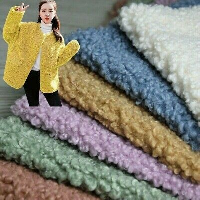 Sherpa Fleece Fabric Lamb Cashmere Faux Wool Thick Apparel Material By Yard • 24.67£