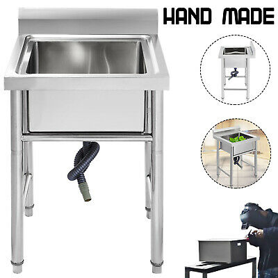 £139.99 • Buy 60X60 Cm Commercial Catering Stainless Steel Sink Kitchen Wash Table Single Bowl