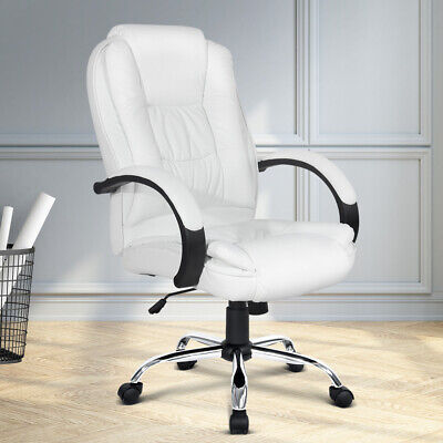 AU138.90 • Buy Artiss Office Chair Computer Chairs Executive Premium Padded PU Leather White