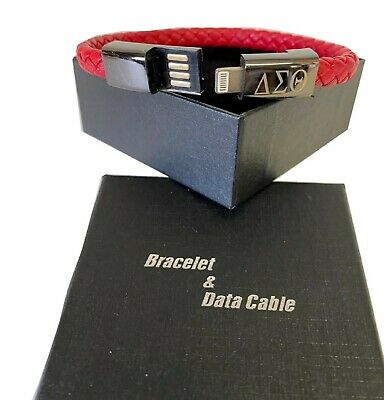 $13.99 • Buy Delta Sigma Theta Leather Portable USB Charging Data Cable Bracelet Wrist Band.