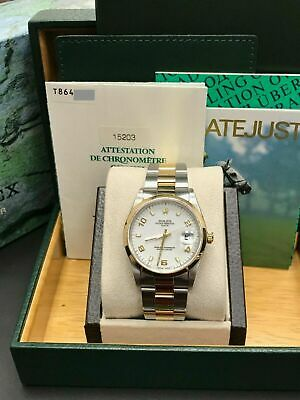 $ CDN8038.32 • Buy Rolex Date 15203 White Dial 18K Yellow Gold & Stainless Steel Box Papers