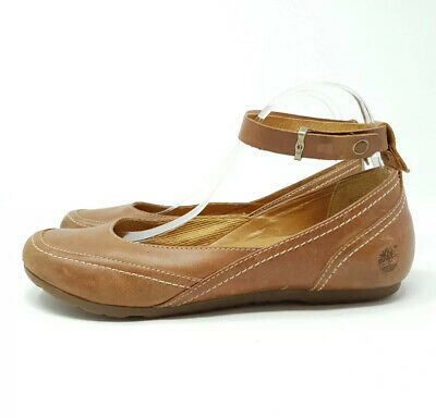 Timberland Earthkeepers UK 7 EU 40 US 9 Leather Flat Tan Shoes Pumps Ankle Strap • 35£