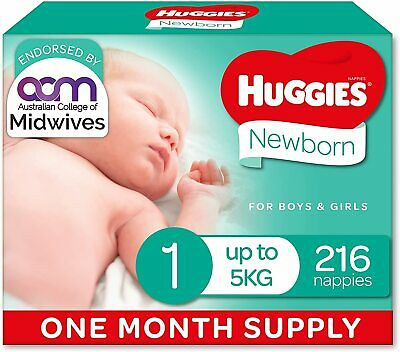 AU79.95 • Buy Huggies Disposable Ultimate Nappies Unisex Size 1 Newborn (Up To 5kg) 216 Count