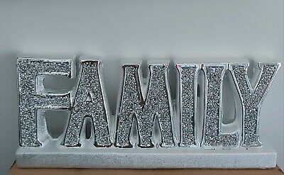 Crushed Crystal Diamond Silver Family Sign Ornament Shelf Sitter Mantle Piece • 24.99£