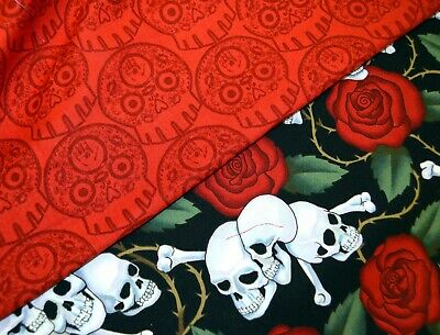AU10.42 • Buy Fat Quarters-Skulls Print Fabric 100% Quilting, Crafting, Or Sewing Cotton