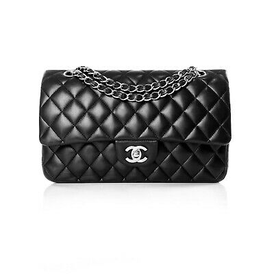AU6500 • Buy Chanel Black Lambskin Medium Classic Double Flap Bag Handbag Silver Hardware