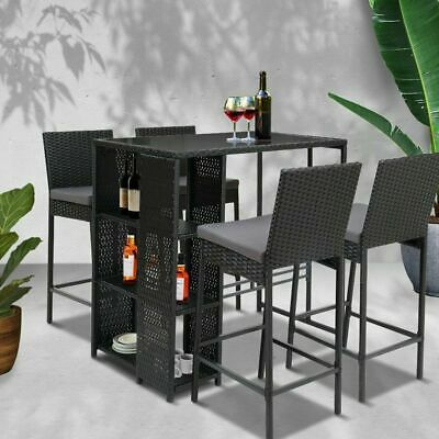 AU497.50 • Buy Gardeon 5pcs Outdoor Bar Set Table Stools Wicker Patio Dining Chairs Furniture