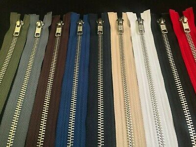 Ykk Metal Open Ended Zip ~silver Teeth  ~choice Of Length & Colours~fast Postage • 3.79£