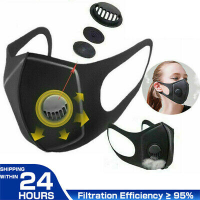 $ CDN4.81 • Buy Outdoor Washable Face Cover& Filters Pads With Breathing Valves Activated Carbon