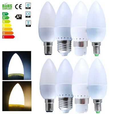 Multi-Pack Screw In Bayonet LED Candle Light Bulbs Energy Saver Warm Cool White • 8.99£
