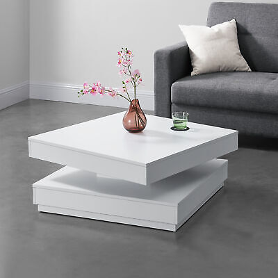 Side Table With Rotating Top Coffe Table 38x76x76 Cm MDF White • 101.69£