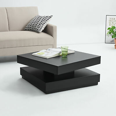Side Table With Rotating Top Coffe Table 38x76x76 Cm MDF Black • 101.69£