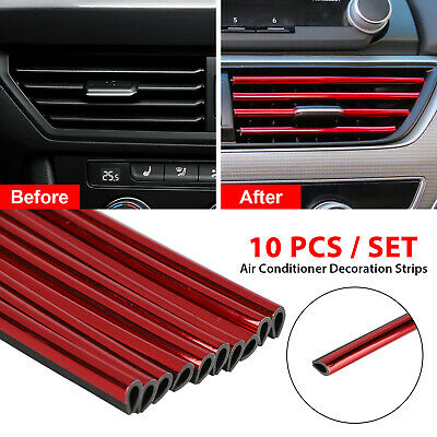 $8.27 • Buy 10x Auto Car Accessories Red Air Conditioner Outlet Decoration Strip Universal