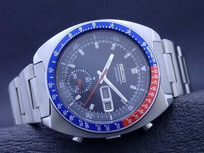$ CDN449.05 • Buy Vintage SEIKO 6139-6002 Automatic Chronograph Mens Watch PEPSI Blue