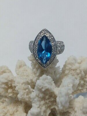$85 • Buy Charles Winston Blue Sapphire Cubic Zirconia 925 Sterling Silver Ring 8.5 Grams