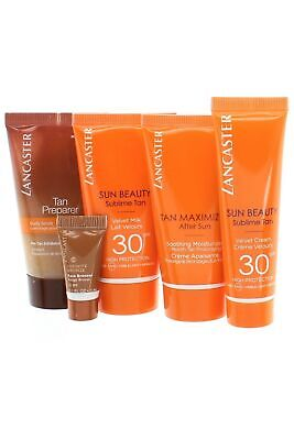Lancaster Sun Beauty Golden Tan Travel Set Pre Tan 50ml Velvet Cream,Milk SPF30 • 15.15£