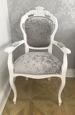 French Style Grey / Silver Velvet Louis Carver Chair Shabby Chic • 80£
