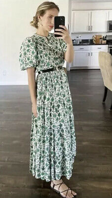 $55 • Buy Bnwt Zara Oyster White And Green Floral Print Midi Dress Size S