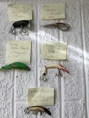 $ CDN38 • Buy Vintage Lot Of 5 FISHING LURES And 3 EXTRAS Arbogast Brook Helin Heddon Acme