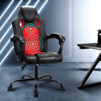 AU116.90 • Buy Artiss Massage Office Chair Gaming Computer Seat Recliner Racer Red