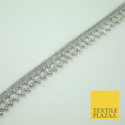 Silver Chrome Textured Pearl Cone Beaded Ribbon Trim Border Indian Lace X323 • 4£