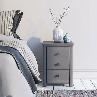 £82.99 • Buy Grey Painted Bedroom 3 Drawer Bedside Table Unit Cabinet Nightstand Glass Top