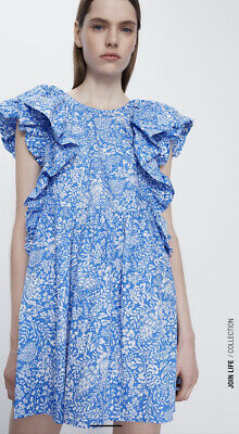 $32 • Buy Zara New Short Floral Printed Dress With Frills White Torquoise M 8342/105