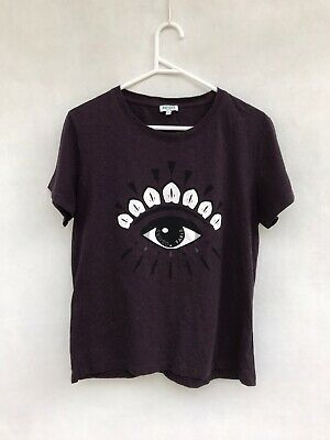 AU99 • Buy ☘️ Womens Kenzo Paris Eye Print T-Shirt Tee Short Sleeve Top Dark Purple Size L