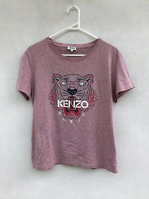 AU99 • Buy ☘️ Womens Kenzo Paris Tiger Print T-Shirt Tee Short Sleeve Top Purple Size L