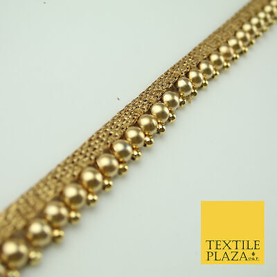 Matte Antique Gold Spherical Pearl Beaded Ribbon Trim Border Indian Lace X327 • 22.50£